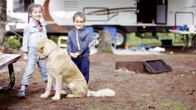 Preschooler Children Camping with Dog video