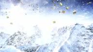 Presents flying over winter landscape (day/alpha matte) - Loop video