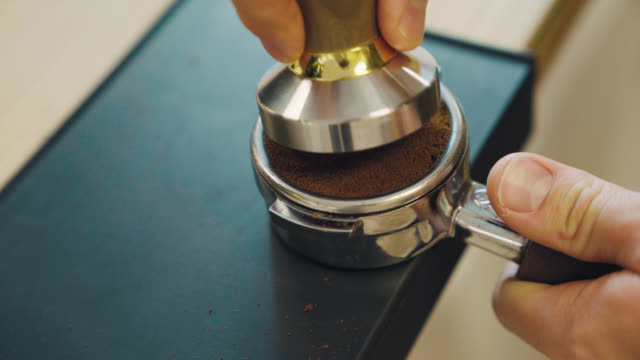 Pressing Espresso with Tamper video