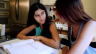 Preteen girl doing homework with help from young adult sister, rolls her eyes video