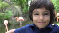 Preteen Hispanic Boy Smiling at Zoo video