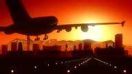 Pretoria South Africa Airplane Landing Skyline Golden Background video