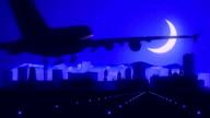 Pretoria South Africa Blue Airplane Landing Skyline Midnight Background video