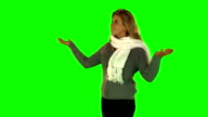 Pretty blonde woman turning with hands outstretched video