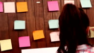 Pretty businesswoman moving post it video