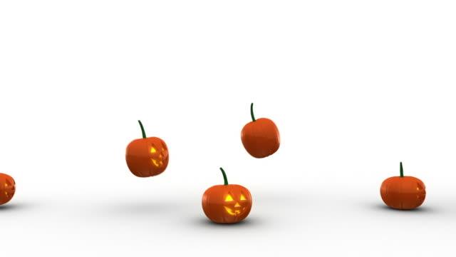 Pretty Female Running Away From Halloween Pumpkins video
