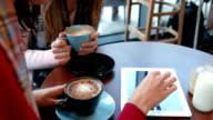 Pretty friends enjoying coffee in cafe video