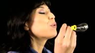 Pretty girl blowing bubbles video