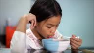pretty girl eats noodle video