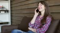pretty girl talking on smartphone video