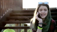 Pretty girl talking on the phone video