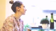 Pretty pensive girl in a restaurant video