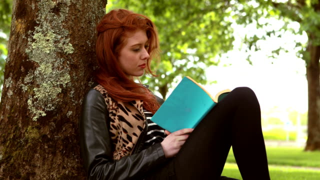 Pretty redhead reading a book in the park video