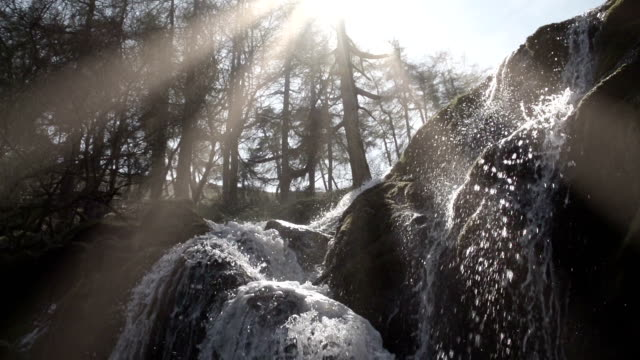 Pretty Waterfall In An Ancient Woodland In Rural Wales video