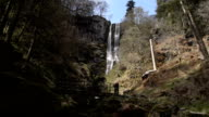 Pretty Waterfall In An Ancient Woodland video