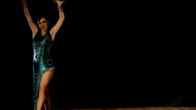 Pretty young woman dances, ballroom video