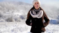 Pretty Young Woman Walking Winter Outdoors Smiling Joy Holidays video