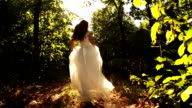Princess Dress Woman Running Fairy Tale Forest Concept HD video