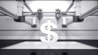 3D printer making Dollar money grey currency sign, 3D scanner video