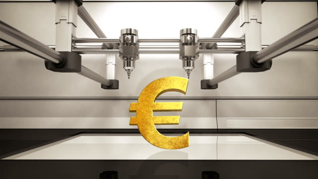 3D printer making Euro money gold currency sign, 3D scanner video