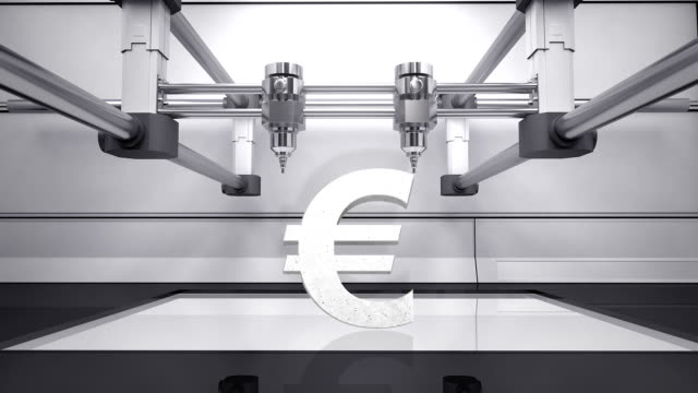 3D printer making Euro money grey currency sign, 3D scanner video