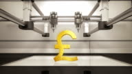 3D printer making Pound money gold currency sign, 3D scanner video