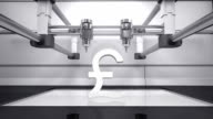 3D printer making Pound money grey currency sign, 3D scanner video