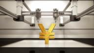 3D printer making Yen money gold currency sign, 3D scanner video