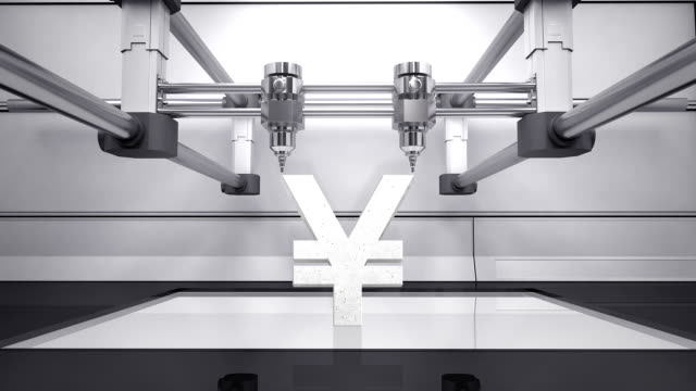 3D printer making Yen money grey currency sign, 3D scanner video