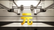 3D printer making Yuan money gold currency sign, 3D scanner video
