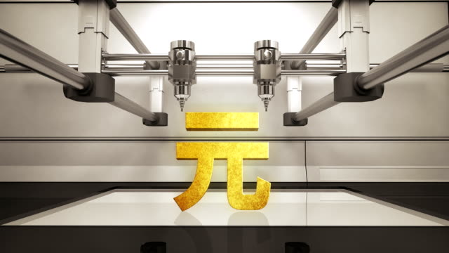 3D printer making Yuan money gold currency sign, 3D scanner video