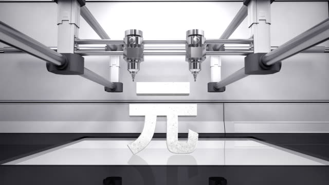 3D printer making Yuan money grey currency sign, 3D scanner video