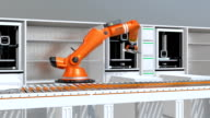 3D printers and robotic arms working in line video