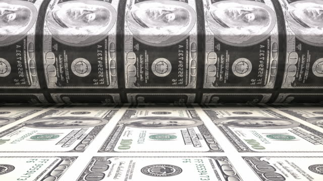 4K Printing Dollar Bills | Loopable video