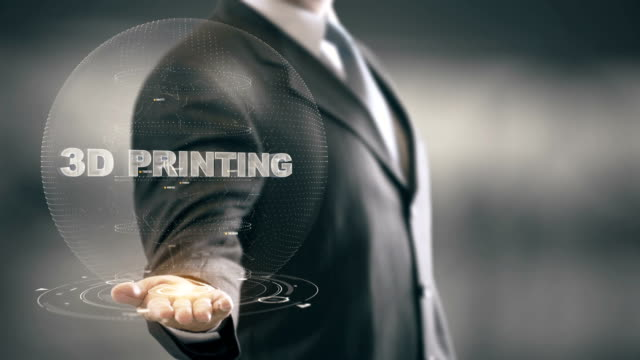 3D Printing with hologram businessman concept video