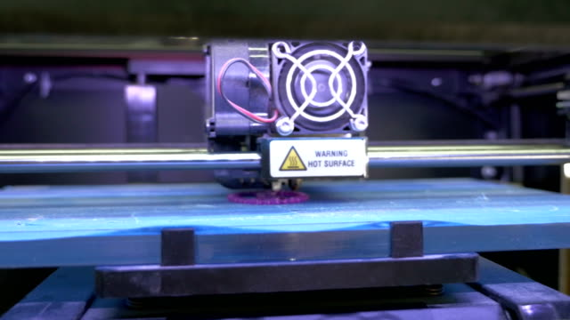 Printing with Plastic Wire Filament on 3D Printer, dolly shot video