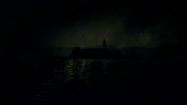 Prison Alcatraz Under a Storm video