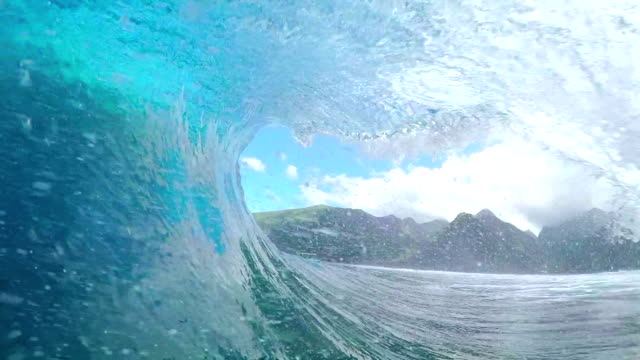 FPV SLOW MOTION: Pro surfer surfing big tube barrel wave video