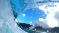 FPV SLOW MOTION: Pro surfer surfing big tube barrel wave video