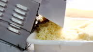 Process of making cheese in a factory. Close up. slice cheese machine video