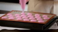 Process of making pink macaron video