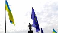 Pro-European rally near the monument to Shevchenko in Kharkov video