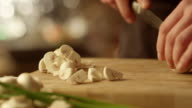 Professional Chef is Rapidly Chopping Mushroom video