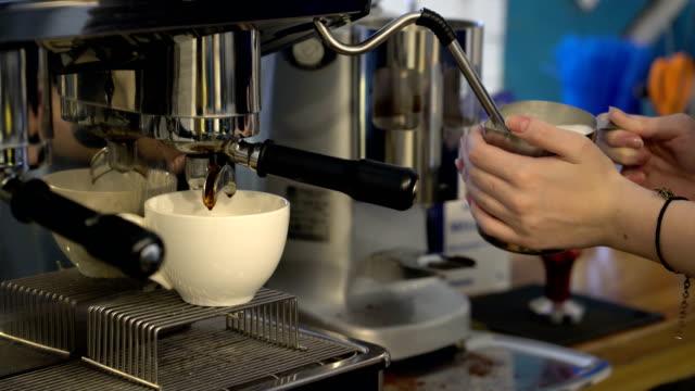 Professional coffee machine making cappuccino video