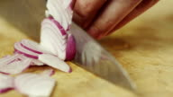 Professional Cook Rapidly Chopping Onion, Close-Up video