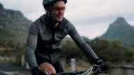 Professional cycling sport enthusiast with proper protective wear video