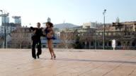 Professional dancers dancing  in the street of Sarajevo video