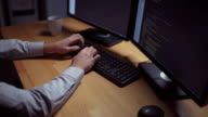 Professional freelance programmer working at home video