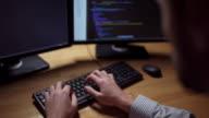Professional hacker organizing server attack video