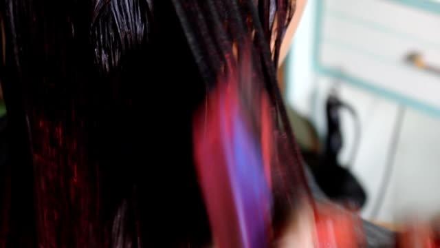 Professional Hairdresser Bleaching Girl's Hair video